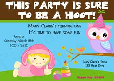Owl Personalized Birthday Party Invitations  .. First Birthday PartyDIY - Birthday Party Printable Invitations for Boys or Girls. $13.00, via Etsy.