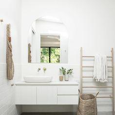 Noa by the Bay Interior Design Concrete Basin, School Bathroom, Concrete Interiors, Linked In Profile, Bathroom Interior Design, Joinery, Interiores Design, Snow White, White Shop