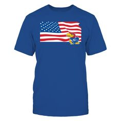This Kansas Jayhawks American Flag T-Shirt is perfect for 4th of July or any time you want to show your pride for KU and the U.S. We offer only officially licensed apparel.  Makes a fun gift! Find more at fanprint.com/stores/kansasforever