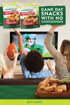 """Just because it's gameday, doesn't mean you have to give up on your eating preferences. With Veggitizer Bites From MorningStar Farms®, you can indulge in satisfying snacks that still satisfy your plant-based standards. Crispy on the outside with ooey-gooey goodness on the inside, these tasty treats are the perfect way to recruit your gameday guests to """"team plant-based. Smoothie Recipes, Snack Recipes, Cooking Recipes, Healthy Recipes, Snacks, Smoothies, Chicken And Chips, Keto Cinnamon Rolls, Vegetarian Appetizers"""