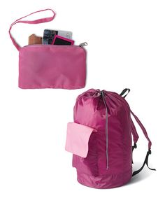 Take a look at this Raspberry & Light Pink Laundry Pack & Coin Pouch by homz on #zulily today!
