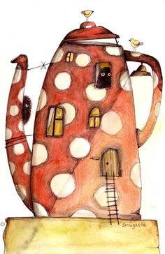Illustrated polka dot #teapot