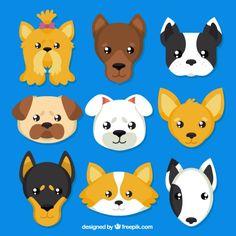 Cães das raças avatars Vetor grátis