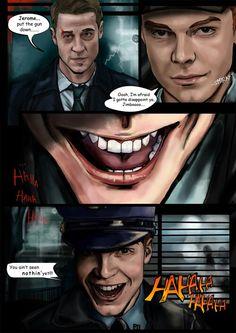 Jerome and Gordon Gotham City, Jerome Gotham, Gotham Joker, Gotham Villains, Joker And Harley Quinn, Gotham Tv Series, Watch The World Burn, Jerome Valeska, Movies And Series