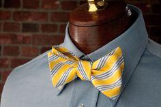 High Cotton Ties | Yellow Spinnaker Stripe Bow Tie