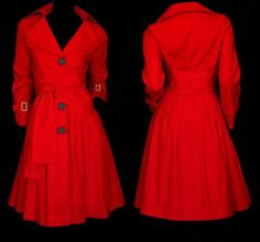 Oversized Loose FIT Belted Skirted Trench Coat YJ072  plus 3X  (24-26) red #Handmade #BasicCoat