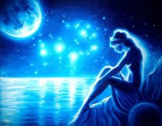 The moon has set And the Pleiades; This poem by Sappho has insp. Sappho the moon and the Pleiades Sea Of Stars, The Pleiades, 5 Elements, Fantasy Girl, Greek Mythology, Traditional Art, Online Art Gallery, My Drawings, Cool Art
