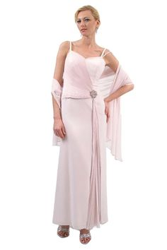 This is a beautiful sweetheart neckline long gown with brooch detail at hip. One side of the bodice is ruched and drapes across the body to a dramatic flower that anchors the drape and leads to pleating down the side front of the A-line floor length skirt.