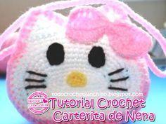 Cómo tejer una cartera para niña en crochet con motivo de Hello Kitty paso a paso en video