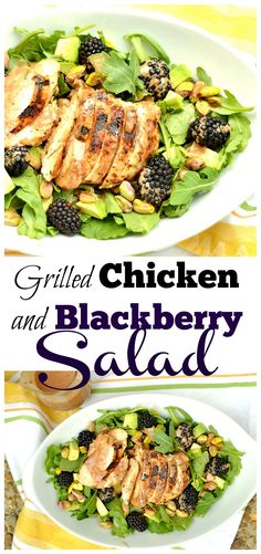 Grilled chicken with a blackberry vinaigrette, avocados, and pistachios create this simple and delicious summer salad! Paleo & Gluten-Free!!