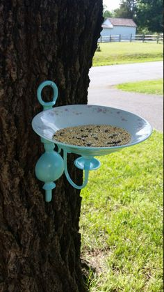 Up-cycled Candle Sconce Bird Feeder by SunsetFreckles on Etsy