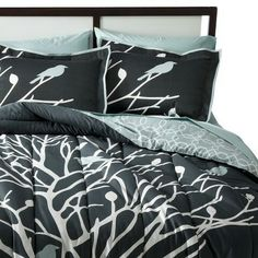 Light blue/black bed set- branches and birds