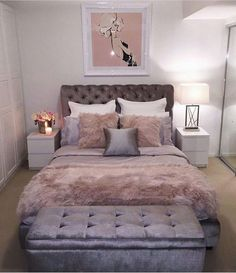 Gorgeous bedroom done with hues of mauve pinks and lavender purples.