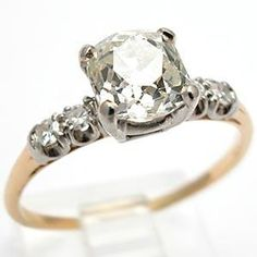 "I like the idea of a ""natural cut""  -Antique Cushion Cut Old Miner Diamond Engagement Ring Solid 14K Gold"