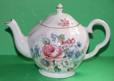 Crownford Giftware Floral Teapot featuring Pink Blue White Flowers ~ England #CrownfordGiftware #babescollectibles