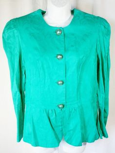 e1532e7aa76e35 Details about Vintage J.P. Angela Dallas 80s Blouse Sz 16 Emerald Green  Gold Buttons USA Made