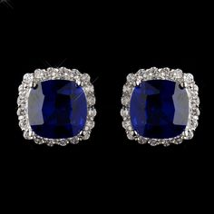 Sapphire Blue and Clear CZ Stud Earrings- sale!--Affordable Elegance Bridal -