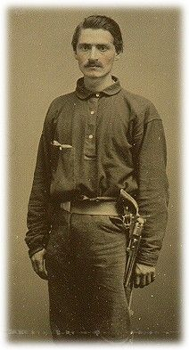 """Private. J. Clay March Company. A, """"Rock City Guards,"""" 1st (Feild's) Tennessee Infantry. Severely wounded at Murfreesboro, the wound would become disabling for further infantry service."""