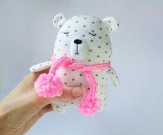 Polka Dot Bear Sleepy Bear White Stuffed Bear Teddy Bear by Amuru