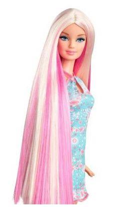 Barbie hair tastic à coiffer, avec peigne et robe glam (blonde/violette)   Pearl.fr