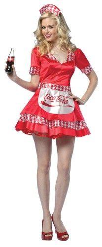 Coca Cola Soda Girl Dress Adult Costume | Career Costumes | Food Costumes