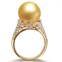 Golden South Sea Pearl, Diamond and Yellow Gold Ring Pearl Jewelry, Jewelry Rings, Jewelry Accessories, Fine Jewelry, Jewelry Design, Pearl Rings, Pearl Bracelets, Pearl Necklaces, Jewlery