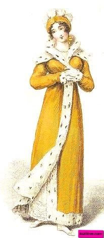 1813    Golden Opera Pelisse, or Redingote, English. Spotted fur trim around the hem and front opening and widening into a shawl collar at the neck. Worn with white gloves and a matching golden yellow evening hat with small white curled plumes.  Fashion plate via John Belle's 'La Belle Assemblee', England.  suzilove.com