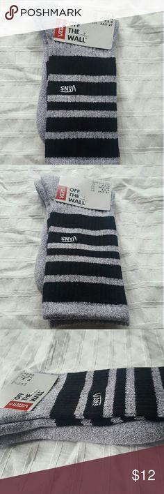 VANS logo socks - L NWT Men's gray and black striped VANS logo socks.  #vans #socks #sockfanatic VANS Underwear & Socks