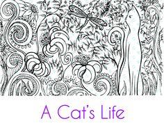 A Cat's Life Silkscreen Stencil Kaleidoscope crafting, polymer clay   mixed media
