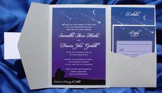 Purple, Blue & Silver Star Gazing, Starry Night, Shooting Stars & Crescent Moon Pocketfold Wedding Invitations
