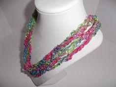 Multicolor Necklace - Crochet Necklace - Necklace Ribbon Lace -   Crochet   Trellis Ribbon -  Lace Fiber - Yarn Necklace - Gift Idea by DelsYarnBasket on Etsy