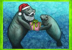 Manatee Claus Holiday Card by BellzieBeasts on Etsy, $3.50