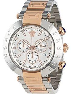 Versace Men's Reve Chrono Round Stainless Steel Rose Gold Ion-Plated Bracelet Date Watch ❤ Versace Swiss Made Watches, Versace Men, Plating, Rose Gold, Stainless Steel, Bracelet, Wristlets, Bracelets, Arm Bracelets