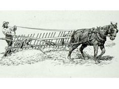 Drawing showing a man using a wooden flop rake to turn over and dump hay.  The flop rake is shown tied to a work horse. The frontier phase of Tennessee history took place from 1768 to around 1828. The first settlers moved into East Tennessee in violation of the Proclamation of 1763, which stated that land west of the proclamation line (most of what is now Tennessee) was reserved for Indians, in this case the Cherokee.