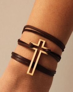 "CROSS WRAP BRACELET - Laser cut wood CROSS pendant on 30"" of very soft dark brown leather, with wood bead closure."