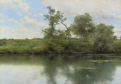 Emilio Sánchez-Perrier - An afternoon on the river, Seville, oil on panel House Landscape, Green Landscape, Landscape Art, Landscape Paintings, Cool Paintings, Beautiful Paintings, Pastel Art, Fantastic Art, Pretty Pictures