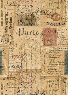 Card Ideas Discover Printable Ephemera Parisian Script Signage Vintage Stamps & Correspondance - ATC Digital Collage Sheet for Papercraft- pdf - jpg - png