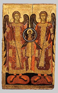 The Council of Archangels 14 cent.  The icon had been serving as the patron icon of the church of the Holy Archangels at Backovo Monastery in Bulgaria.