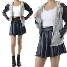 ebclo - Studded Faux Leather Sleeve Hoodie  $33.00 Free Domestic Shipping