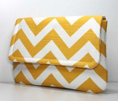 Clutch - Yellow and White Chevron with 2 Pockets - Optional Wrist Strap or Shoulder Strap - Made to Order