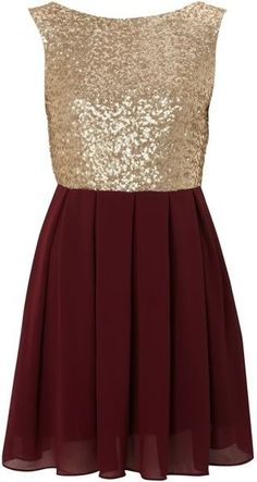 Burgundy and gold sequin dress.