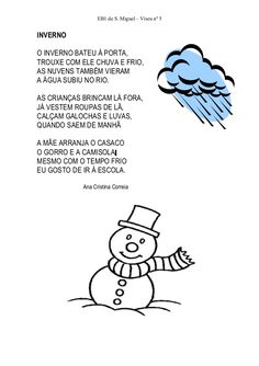 Resultado de imagem para poesias infantis de inverno Winter Activities, Activities For Kids, Diy For Kids, Teaching, Education, Comics, Children, School, Fictional Characters