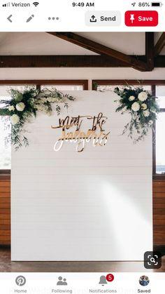 Planning а Wedding! Wedding Photo Walls, Wedding Wall, Wedding Signs, Diy Wedding, Rustic Wedding, Dream Wedding, Wedding Reception Backdrop, Reception Decorations, Engagement Decorations