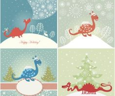 Christmas greeting cards with dragons vector