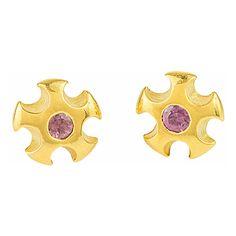Annika burman - metropolis ear studs with rhodolite garnets ($269) ❤ liked on Polyvore featuring jewelry, earrings, garnet jewellery, garnet earrings, garnet stud earrings, studded jewelry and stud earrings