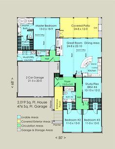 Plano de casa amplia de 1 planta con 4 dormitorios y 2 garajes-2