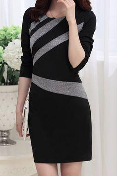 Scoop Neck Long Sleeves Color Splicing Elegant Flocking Dress For Women