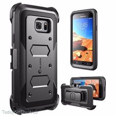 Samsung Galaxy S7 Active i-Blason Armorbox Black Heavy Duty Holster Case #iBlason