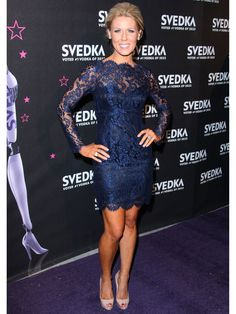 Gretchen Rossi in this interpretation of the LBD is Sapphire Blue Lace; of which the color is my FAVE color for elegant evening attire.  Bravo, Gretchen!