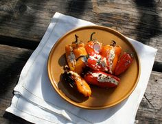 roasted cream cheese stuffed peppers - PLUS a whole blog about camping food - The Dirty Gourmet